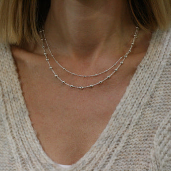 QUINN Silver Double Row 'Balls' Necklace