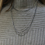 SAN Two Tone Silver Multirow Chain Necklace