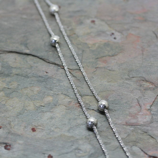 SAN Silver Longline Necklace with Moveable Beads