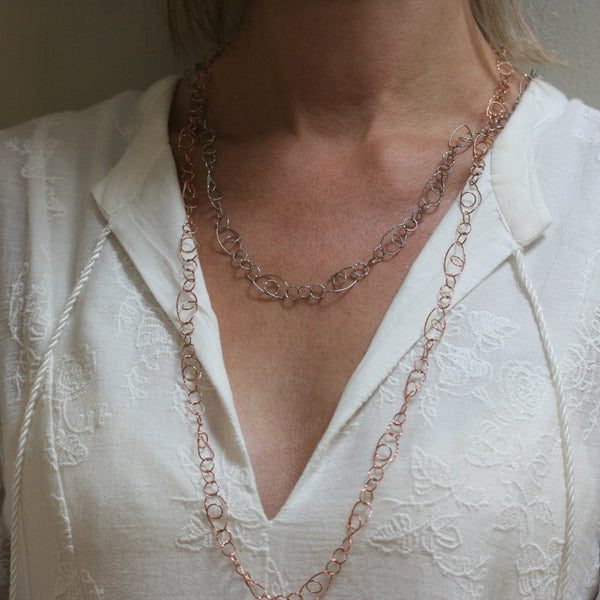 SAN Rose Gold Plated Silver 'Open' Textured Link Necklace