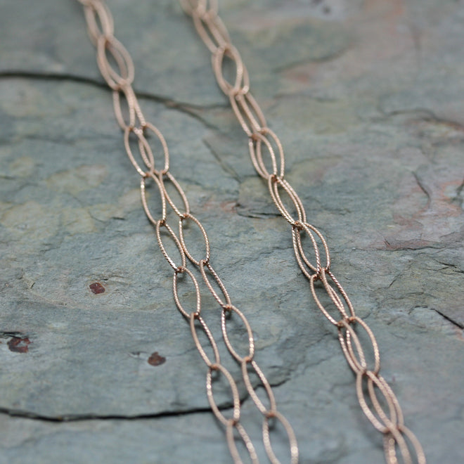 SAN Rose Gold Plated Silver ' Open Twisted Link' Longline Chain