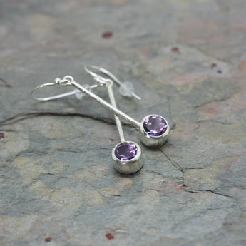 CHARLES ROBERTSON Silver Hammered Bar Drop Earrings with Amethyst