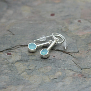 CHARLES ROBERTSON Silver Bar Drop Earrings with Aqua Chalcedony