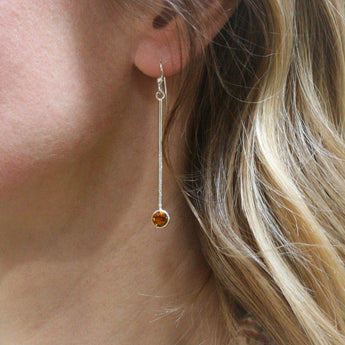 CHARLES ROBERTSON Silver Hammered Bar Drop Earrings with Citrine