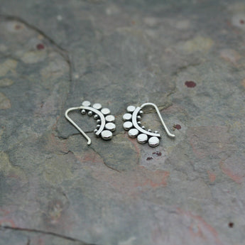 SASHA Silver 'Sunflower' Half Hoop Earrings