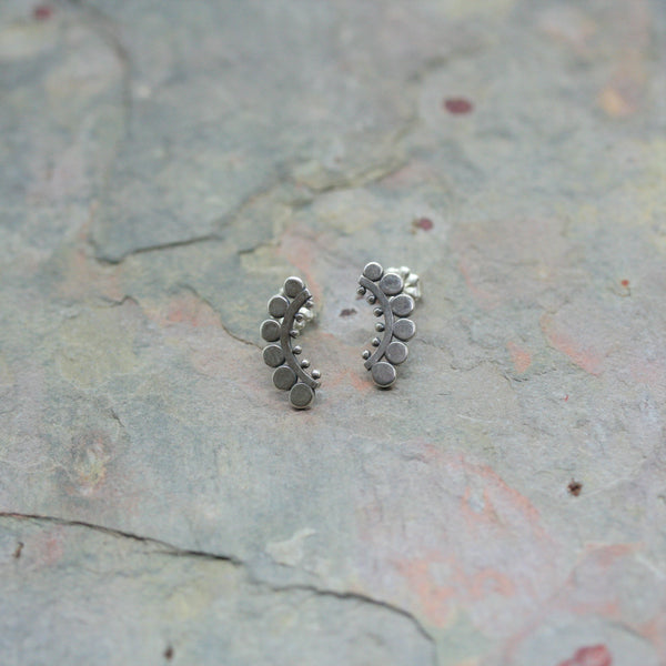 SASHA Silver 'Sunflower' Slice Stud Earrings