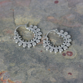SASHA Silver 'Sunflower' Hoop Earrings
