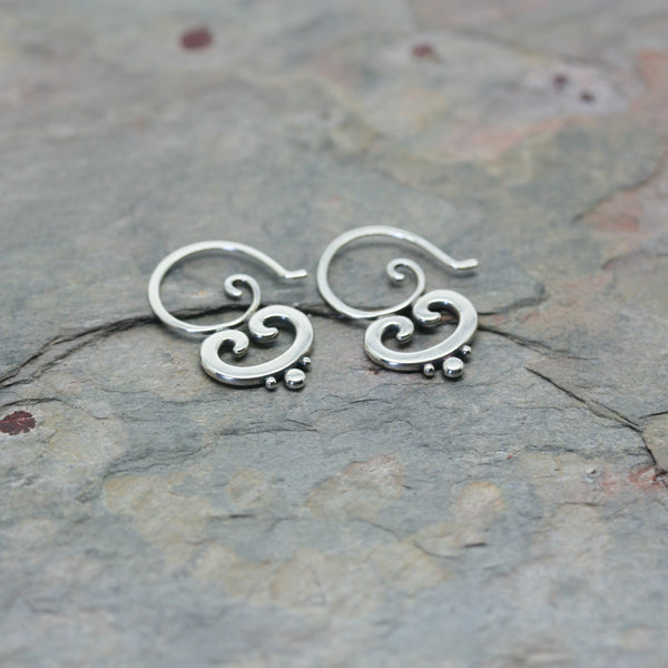 SASHA Small Silver 'Ornate' Earrings