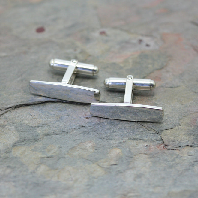 O F DESIGN 'Long-Bar' Silver Cufflinks