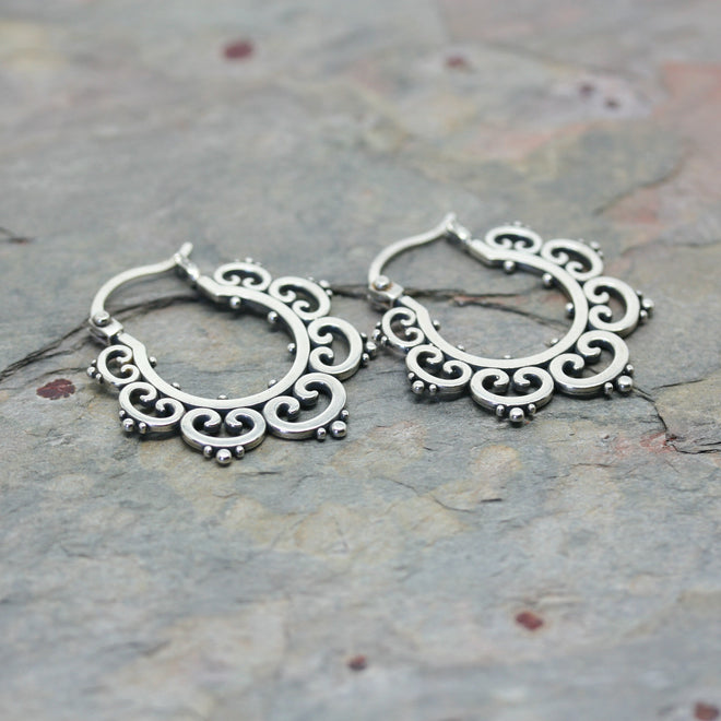 SASHA Ornate 'Tribal' Hoop Earrings