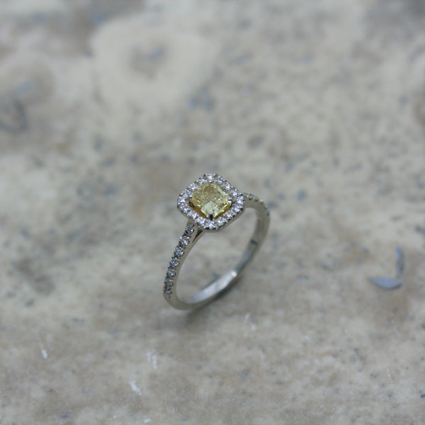 ADAM Platinum Yellow & White Diamond 'Halo' Engagement Ring