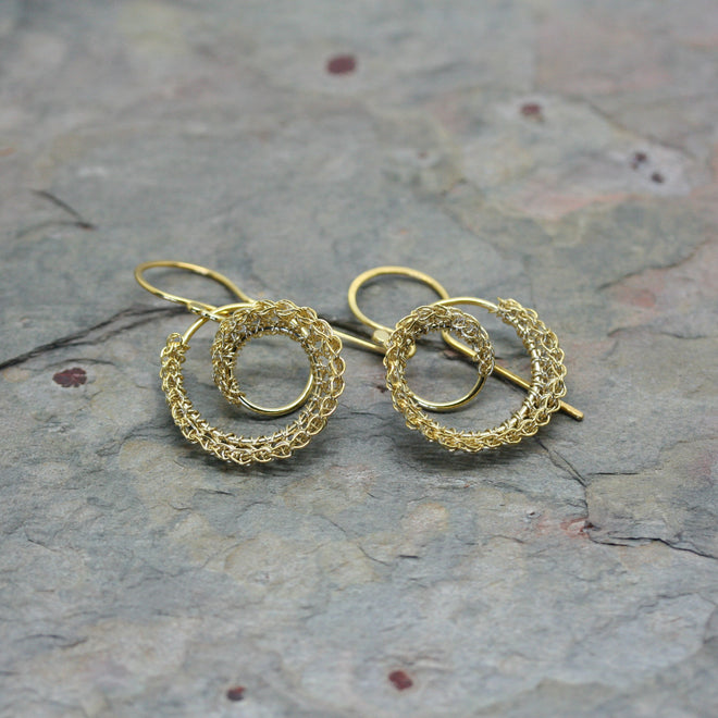 TERI HOWES Yellow Gold PlatedSilver Hand Crocheted 'DNA' Drop Earrings
