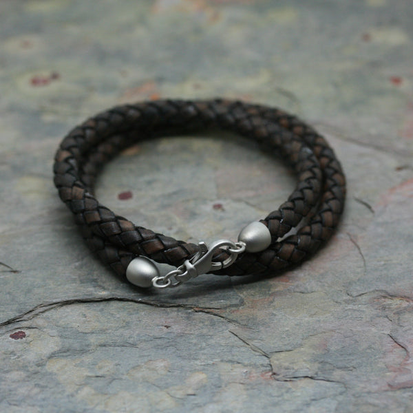 SAN Men's Leather Twist Bracelet