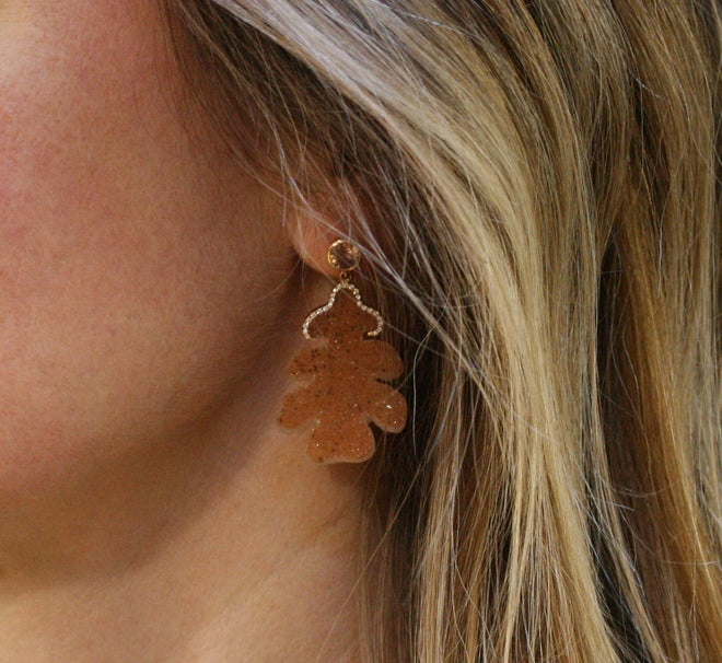 ADAM 18ct Rose Gold, Cognac Zircon, Diamond and Druzy Agate 'Quercus' Earrings