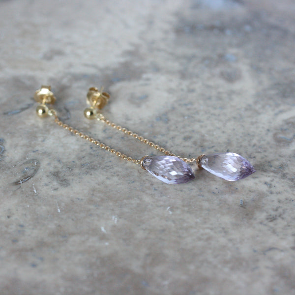Adam 18ct yellow gold pointed amethyst briolette drop earrings