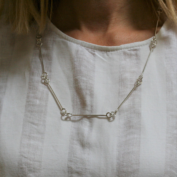 CHARLES ROBERTSON Silver Bar Linked Necklace