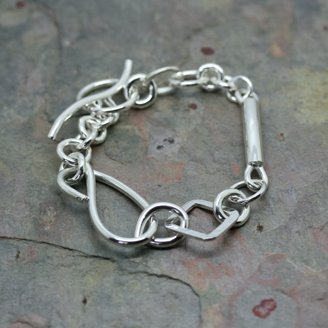 CHARLES ROBERTSON Silver 'Mixed Link' Bracelet