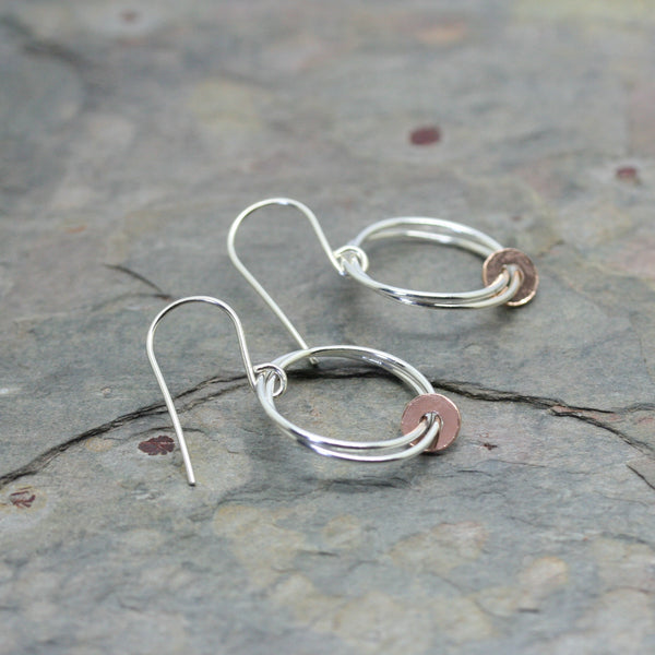 YULAN Silver 'Fallon' Earrings with Rose Gold