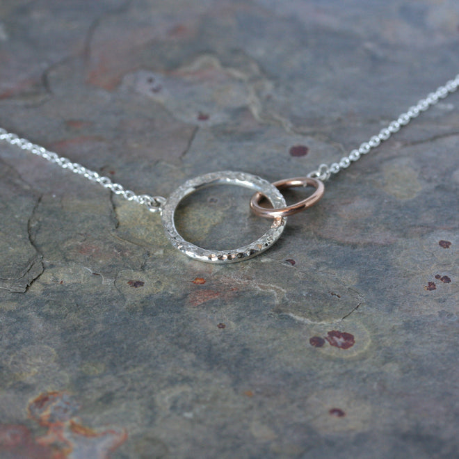 YULAN 'Nexus' Silver and Rose Gold Necklace