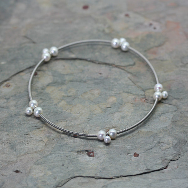 Eva Strepp Steel Mini Trio Pearl Bangle
