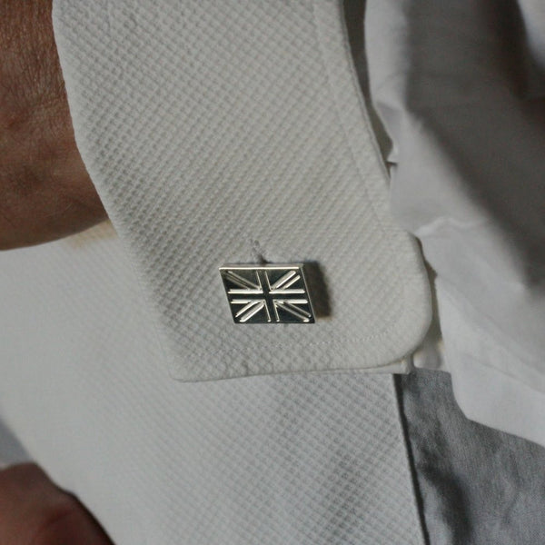 O F DESIGN Silver 'Union Flag' Cufflinks