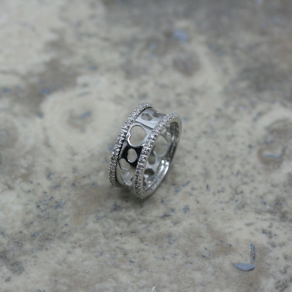 Nanis 18ct white gold and diamond heart filigree ring