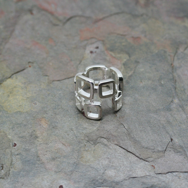 saffron silver multi square ring