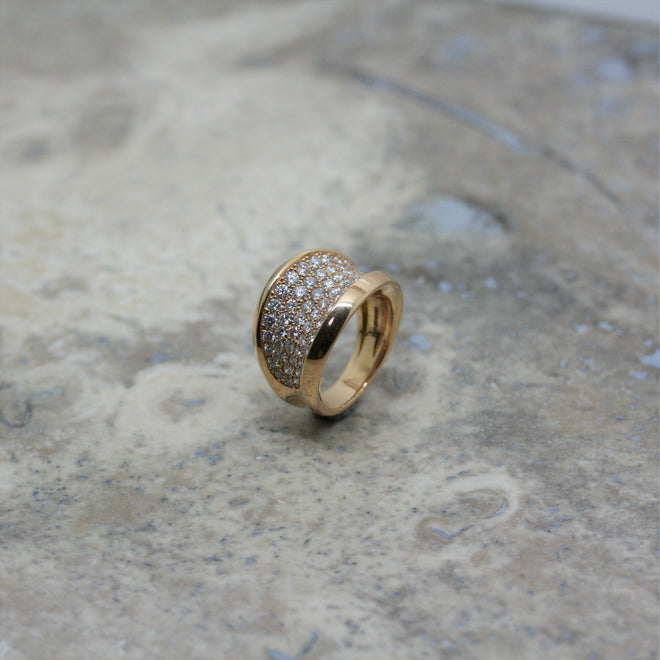 SOLEY 18ct Rose Gold & Diamond 'Concave' Ring