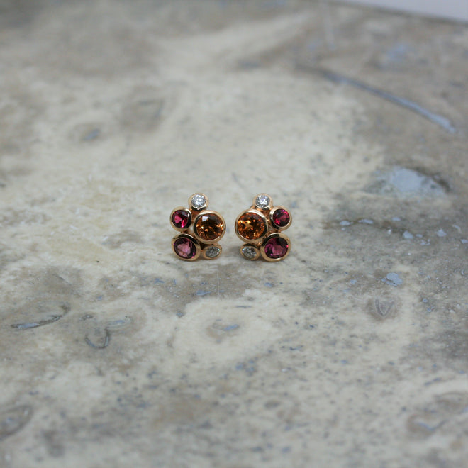 SOLEY 18ct Rose Gold Multi-Stone 'Bubble' Earrings