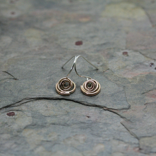 YULAN Silver 'Q' Earrings with Rose Gold