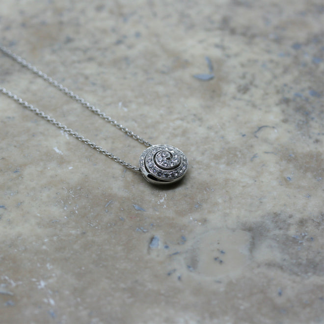 SOLEY 18ct White Gold & Diamond Snail Pendant and Chain