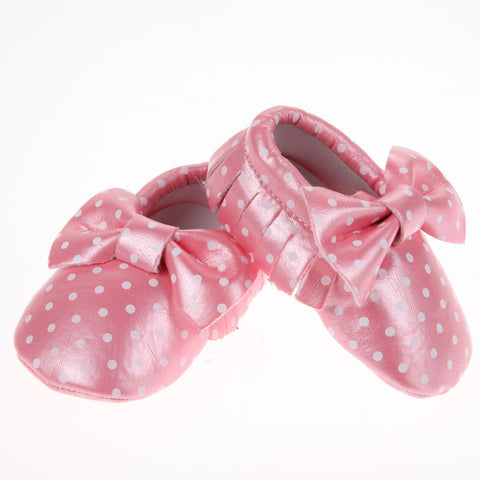 Baby Boutique Polka Dots Moccasins - Pink