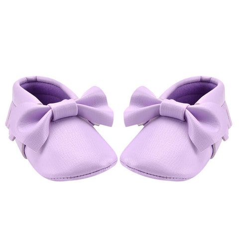 Baby Bow Moccasins - Mauve (0-18 Months)