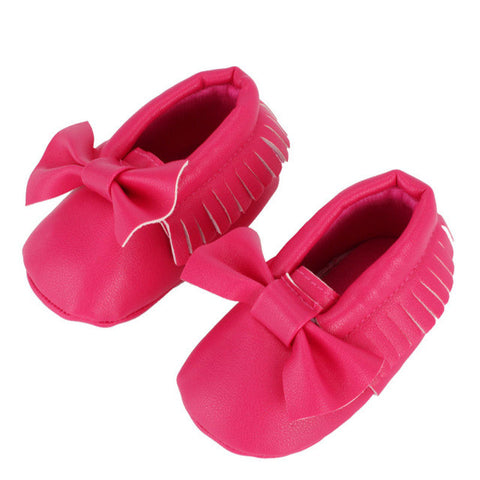 Baby Bow Moccasins - Cerise Pink  (0-18 Months)
