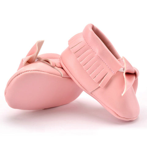 Baby Bow Moccasins - Salmon (0-18 Months)