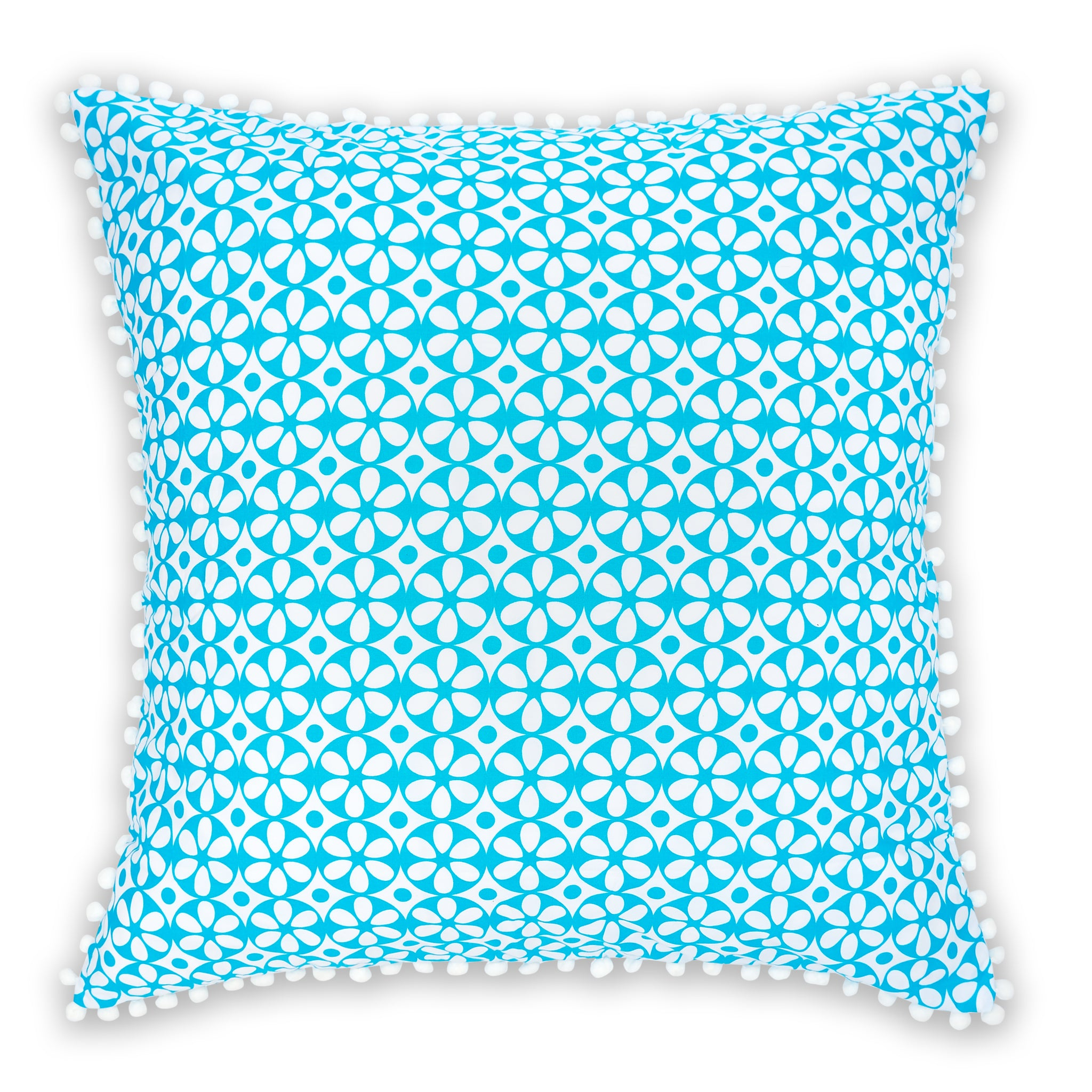 Vivid blue geometric floral printed organic European cushion cover with white pompom trim