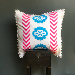 Bright aqua blue florals with pink chevron printed organic European cushion cover with white pompom trim