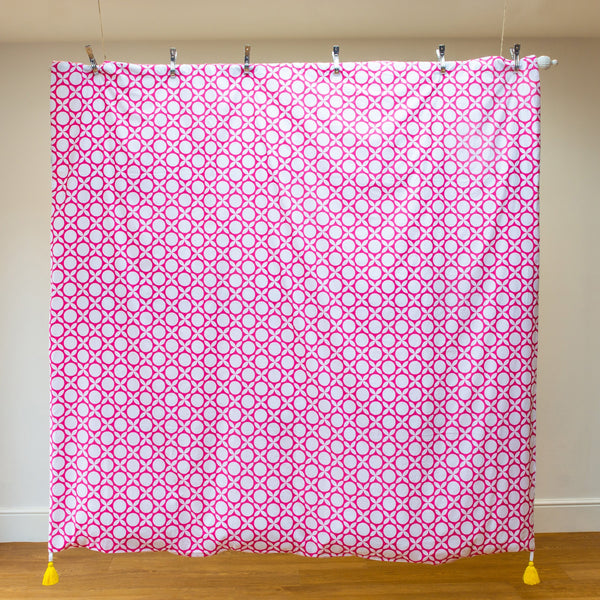 Luxury organic duvet, pink geometric print with bright yellow removable tassel detailing