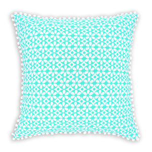Mint green geometric floral printed organic European cushion cover with white pompom trim