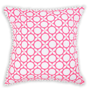 Bright pink geometric printed organic European cushion cover with white pompom trim