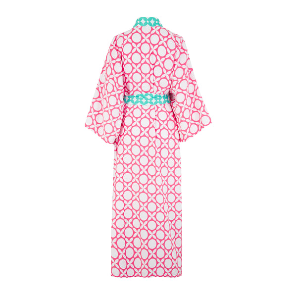 Organic cotton robe in pink geometric print with green tie and white tassel detailing