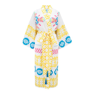 Organic cotton robe with tassel tie