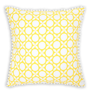 Bright sunny yellow geometric printed organic European cushion cover with white pompom trim