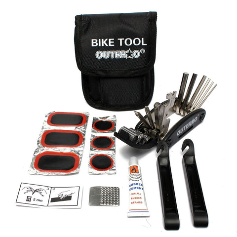 OUTERDO Bicycle Tyre Repair Kit Tools With Rubber Patches