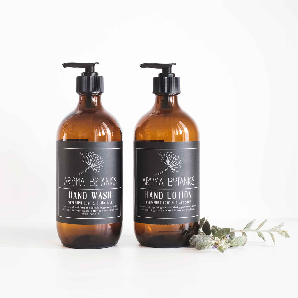 Aroma Botanics Peppermint Leaf and Clary Sage Hand Wash and Hand Lotion Set