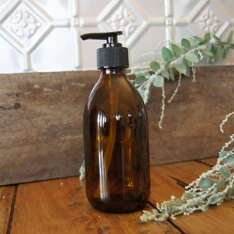 NEW!!!! 250ml Amber Glass Bottle with Pump Dispenser