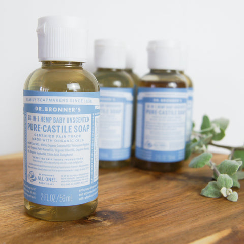 Dr Bronner's Pure Castile Unscented Liquid Soap (59ml)