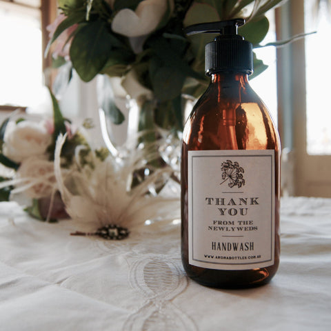 Thank you from the NEWLYWEDS 300ml Hand wash Bottle with Bespoke Label