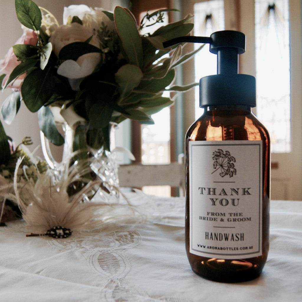 Thank you from the BRIDE AND GROOM 500ml Foaming Hand wash Bottle with Bespoke Label