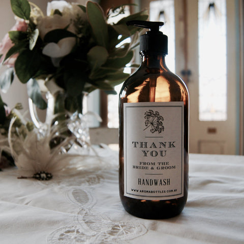 Thank you from THE BRIDE AND GROOM 500ml Pump Hand wash Bottle with Bespoke Label